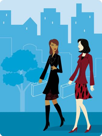 Two Businesswomen walking to work together
