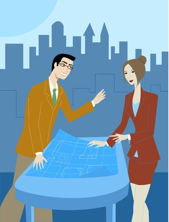 A pair of businessman and businesswoman discussing blueprints Stock Photo - 15208138