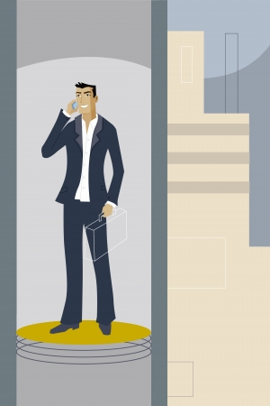 upwardly mobile: A businessman talking on his cell phone while riding an elevator Stock Photo