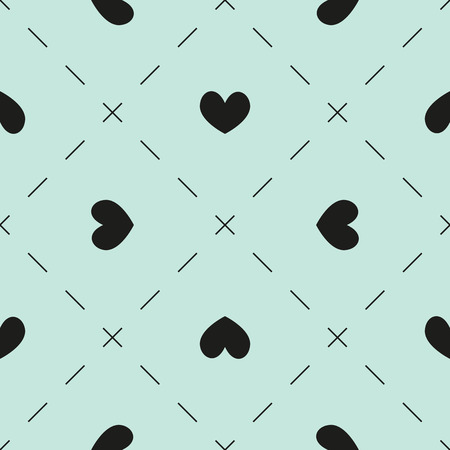dashes: Seamless pattern with hearts and dashes on light blue background
