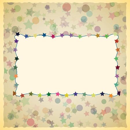 scrapbook cover: Dise�o de la tarjeta de la vendimia para la tarjeta de felicitaci�n, invitaciones, men�, cubierta del libro de recuerdos. Estrellas coloridas y c�rculos en el fondo. Vectores