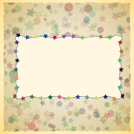 scrapbook cover: Vintage card design for greeting card, invitation, menu, scrapbook cover. Colorful stars and circles on background.