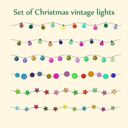 string of christmas lights: Retro vector set of Christmas string lights Illustration