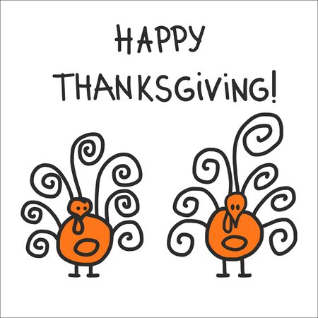 turkeys: Two childish hand drawn symbolic turkeys - symbol of thankgiving day. Vector Illustration Isolated on white. Illustration
