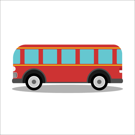 Red retro city bus on a white background - isolated vector illustration