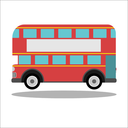 double decker bus: Red retro city double decker bus on a white background - isolated vector illustration