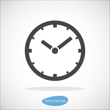 Clock icon, vector illustration. Simplified flat design. 向量圖像
