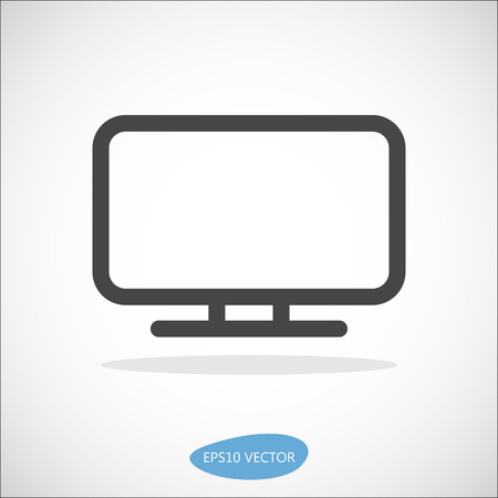 lcd: LCD TV Icon - Isolated Illustration. Simplified line design. Illustration