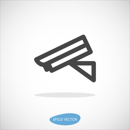 network topology: Security Camera Icon - Isolated Vector Illustration. Simplified line design.