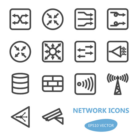 network server: Network Devices Icon Set - Vector Illustration. Simplified line design.  Gray icons collection.