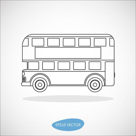double decker: Retro city double decker London bus line icon on a white background - isolated vector illustration Illustration