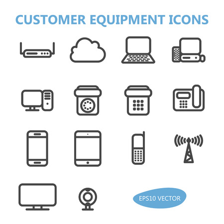 communication icons: Customer Communication Equipment Icons - Isolated Illustration