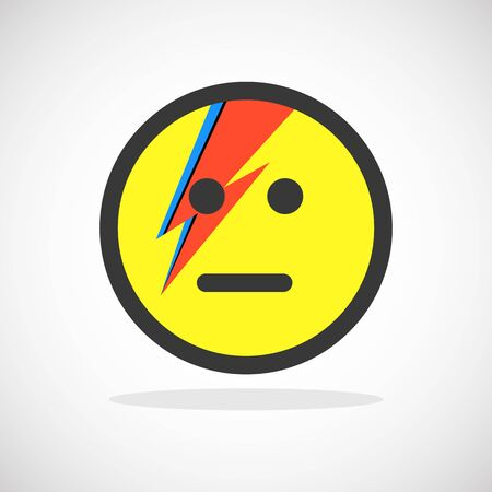 smiley icon: Smile Yellow Icon with Lightning Bolt Painting