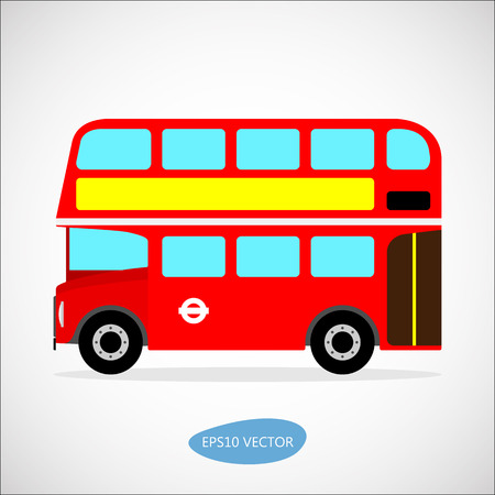 education cartoon: Red retro city double decker bus on a white background - isolated vector illustration