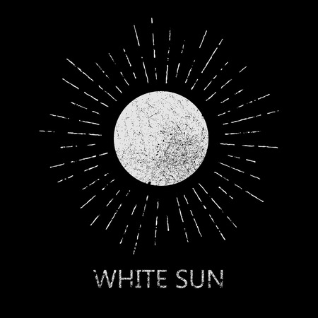 sun rays: Monochrome hipster grunge vintage label for poster, flayer or t-shirt print with sun, starburst and rays - vector illustration Illustration
