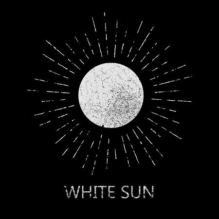 Vintage blanco y negro etiqueta de última moda del grunge para el cartel, flayer o camiseta de la impresión con el sol, Starburst y rayos - ilustración vectorial