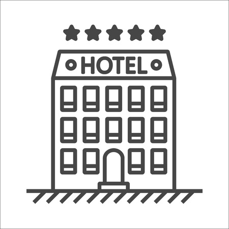 apartment bell: Hotel line icon - isolated stock illustration