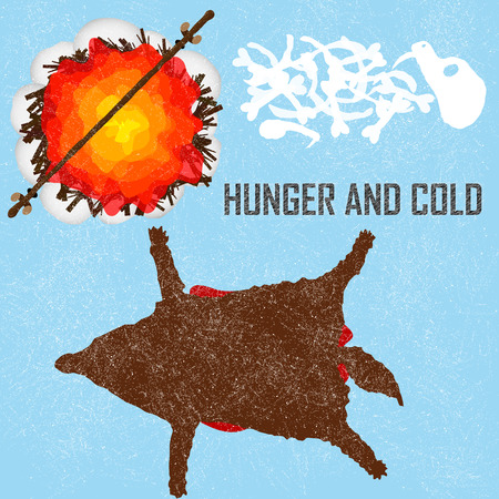 sapien: Hunger and Cold card about Ice Age, hunting to get an eat in hard winter time. Flat style illustration. Illustration
