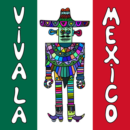 poncho: Mexican robot with sombrero and poncho on mexican flag colored background. Hand drawn work. Ethnic color pattern.