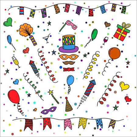 Karneval von Hand gezeichnet Symbole Sammlung - Karnevalsmasken, party decorations.illustration isoliert auf weißem Hintergrund gefärbt. Vektorgrafik