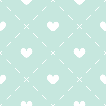 dashes: Seamless pattern with white hearts and dashes on light blue background