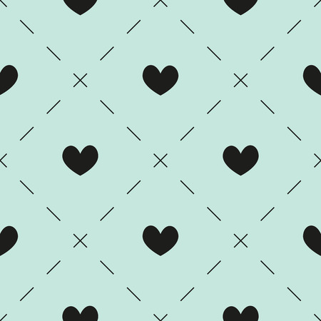 dashes: Seamless pattern with black hearts and dashes on light blue background Illustration