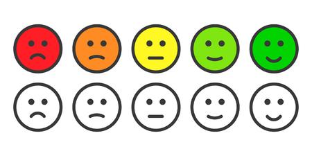 Emoji иконки, эмотиконы для расчета уровня удовлетворенности. Пять классов смайлов для использования в опросах. Цветные и контурные иконки. Изолированные иллюстрации на белом фоне Фото со стока