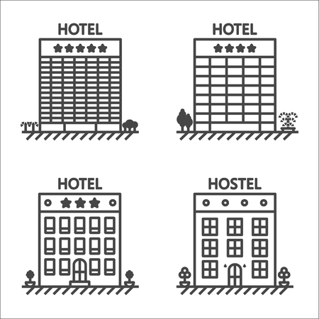apartment bell: Hotels and hostel line icon set - isolated stock illustration