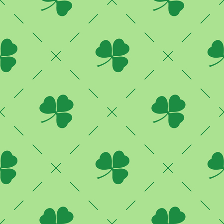 dashes: Patricks day vector seamless background with shamrock. Patrick day based seamless pattern with clovers and dashes. Vector illustration. Illustration
