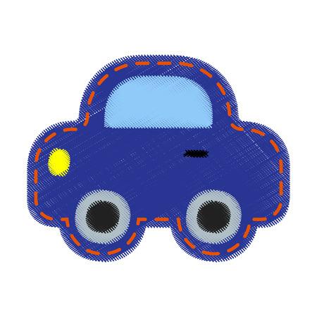 patch: Patch for kids - car. Blue denim fabric.