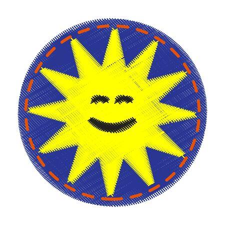 patch: Patch for kids - sun. Blue denim fabric. Illustration