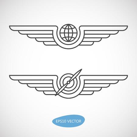Emblèmes de l'aviation, insignes et patches d'icônes. Icônes de l'aviation militaire et civile. Banque d'images - 54934450