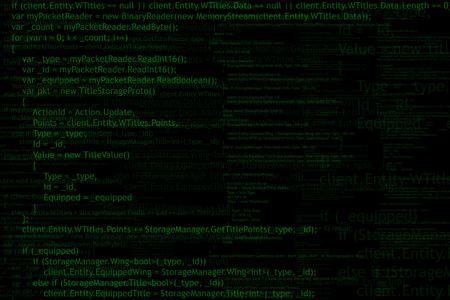 programming code: Program code background. Algorithm programming. Green on black abstract background.
