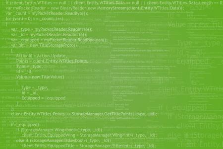 screenshot: Program code background. Algorithm programming. White on green abstract background. Illustration