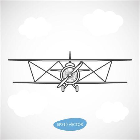 Biplane. Retro airplane illustration. Vintage plane front view.