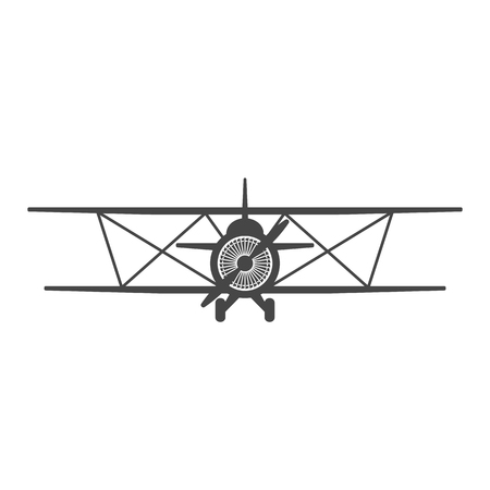Biplane. Retro airplane illustration. Vintage plane front view. Plane icon.