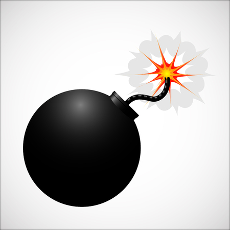 stress ball: Bomb realistic icon. Black color body with fire.