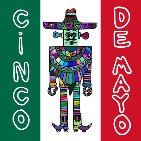 poncho: Mexican robot with sombrero and poncho white background.