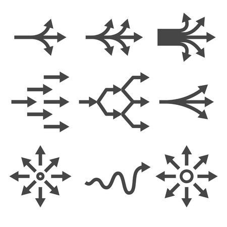 diversification: Complicate icon set. Diversification process in business. Split from single to many. From simple to complex arrow diagrams. Illustration