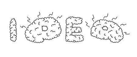 gyrus: Idea inscription based on brain gyrus look. Brain convolutions. Black and white outline. Hand drawn illustration. Illustration