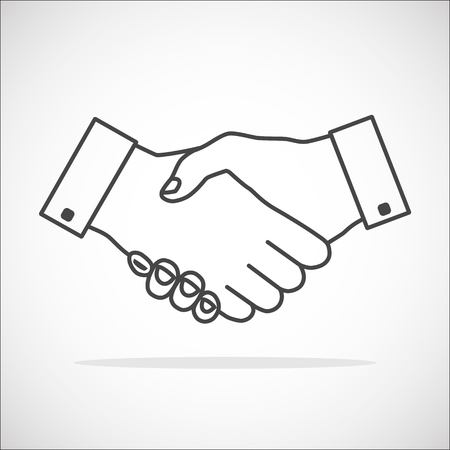 binding: Handshake icon thin gray outline without fill - transparent. Hand gesture used as a greeting. In business used for the deal or agreement to become binding.