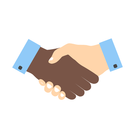 binding: Handshake icon colored without strokes. Hand gesture used as a greeting. In business used for the deal or agreement to become binding. Friendship between races. Hands with different skin colors.