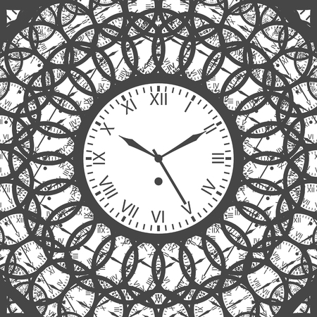 roman numerals: Clock with roman numerals. Gray on white background. Isolated Illustration Illustration