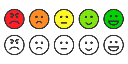 Emoji icons, emoticons for rate of satisfaction level. Five grade smileys for using in surveys. Colored and outline icons. Isolated illustration on white background Vettoriali