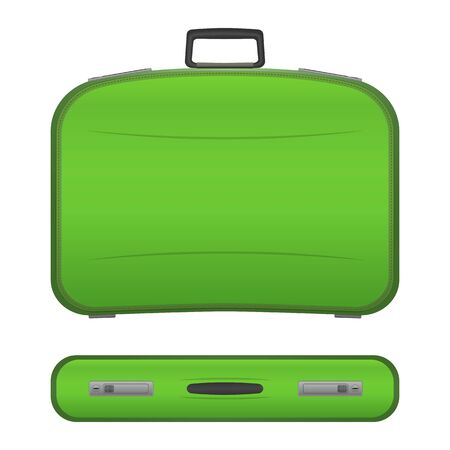 projections: Green realistic suitcase with shadows in two projections, isolated on white background. Plastic or leather modern travel bag. Baggage for tourists on vacations. Stock illustration.