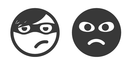 stealing: Thief smiley icon set. Theft performer. Robber emoticon. Unknown person with black mask on face. Stealing process participant icon.