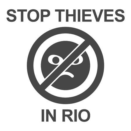 numerous: Stop thieves in Rio poster. Stop sign with inscription - black on white background. Call to stop thieves and robbers of tourists in Rio de Janeiro. Request to prevent numerous thefts in Rio. Illustration