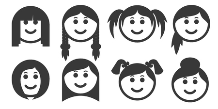 Set of outline woman hair style emoticons, emoji isolated on white background,  illustration 矢量图像