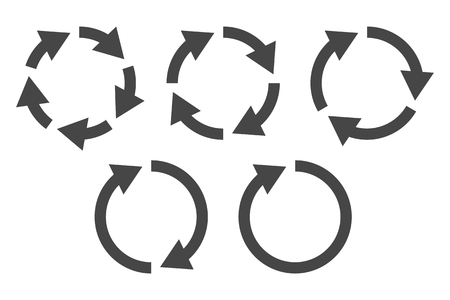 Repetitive process icon with circular arrows explanation. Icon reflect renewable energy, recycling, repeatable industry and business processes. Vettoriali