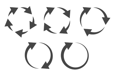 Repetitive process icon with circular arrows explanation. Icon reflect renewable energy, recycling, repeatable industry and business processes. Illustration